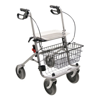 Drive Medical Rollator Cristallo, PD-Bremse anat. Griffe, PU, silber-metallic